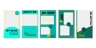 Set of Social Media Templates for Photos for Blog. royalty free illustration