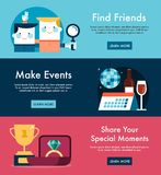 Set of social media themed web banners Royalty Free Stock Images