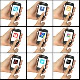 Set of social network buttons on a smartphone Royalty Free Stock Image