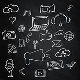 Set social network on chalk board signs and symbols Stock Images