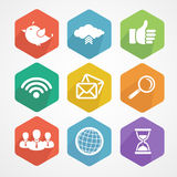 Set of social network icons flat silhouette. Stock Images