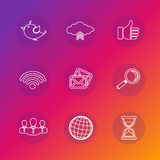 Set of social network icons in white silhouette. Stock Photography
