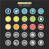 A set of 25 social network logos. Colored Stock Photos