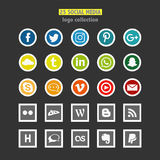 Set of 25 social network logos. Set of 25 network logos. Colored. Flat style Stock Image
