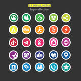 Set of 25 social network logos. Set of 25 network logos. Colored. Flat style Stock Photos