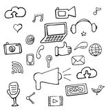 Set social network signs and symbols Royalty Free Stock Images