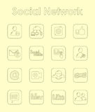 Set of social network simple icons Stock Images