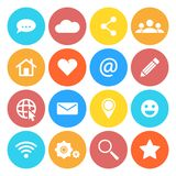 Set of social networking icons. Flat design style. Royalty Free Stock Images