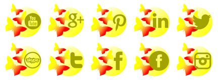 Set of social networks icons with butterflies Royalty Free Stock Photo