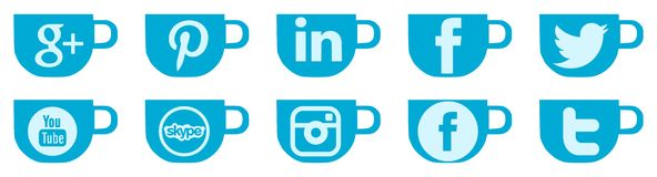 Set of social networks icons on coffe cup Stock Image