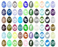 Set of social networks icons isolated for Easter stock illustration