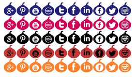 Set of social networks icons isolated for Halloween Royalty Free Stock Photography