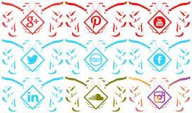Set of social networks icons on two headed eagle isolated Royalty Free Stock Images