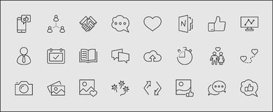 Set of Social Networks Related Vector Line Icons. Contains such Icons as Profile Page, Rating, Social Links and more vector illustration