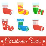 Set of socks. Set of christmas socks. Template for greeting cards, postcards, advertising, media. Flat vector cartoon christmas socks illustration. Objects Stock Photography