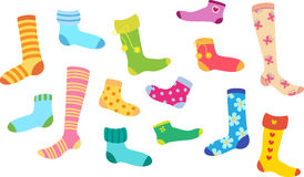 Set of socks of different colors and design Royalty Free Stock Images