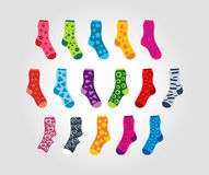 Set of of socks with different patterns motives Stock Photography