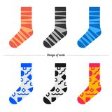 Set of socks with hipster design Stock Image