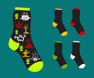 Set of of socks patterned of monsters Stock Images