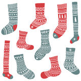 Set of socks. Vector set of cute hand drawn socks with patterns on  background Royalty Free Stock Photo