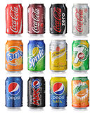 Set of soda cans. Collection of various brands of soda drinks on white background