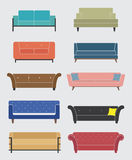 Set of sofa and couch, Furniture icons, Vector Stock Image