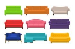 Set of sofa, couches, settee Stock Photos