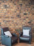 set sofa för möblemanglädervardagsrum royaltyfri fotografi