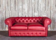 set sofa för möblemanglädervardagsrum Fotografering för Bildbyråer