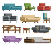 Set of sofas and armchairs in cartoon flat style. Royalty Free Stock Photos
