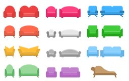 Set of sofas and chairs, flat icon. royalty free illustration