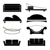 Set of sofas of different shapes Royalty Free Stock Photo