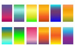 Set soft abstract color gradients background. Bright modern screen design for mobile app and website. Isolated on white background Stock Photos