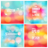 Set of soft blurry backgrounds with bokeh effect. Vector illustration Royalty Free Stock Photos