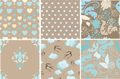 Set of soft brown patterns Stock Photos