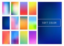 Soft color gradients background. Set of soft color gradients background for mobile screen, app. Vector illustration Royalty Free Illustration