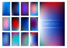 Set of soft color gradients background. For mobile screen, smartphone app. Vector illustration Stock Illustration