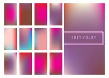 Set of soft color gradients background. For mobile screen, smartphone app. Vector illustration Royalty Free Illustration