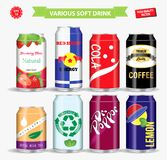 Set of soft drink in various aluminium can. easy to modify stock illustration