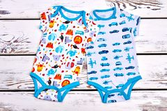 Set of soft patterned rompers for kids. Royalty Free Stock Images