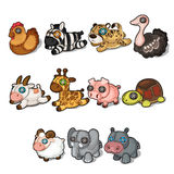 Set of soft toys from different animals and birds vector illustration
