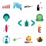 Set of software bug, outlaw, 3rd anniversary, call now, campaign management, e crown, kayak, pharmacy, baboon icons. Set Of 13 simple  icons such as software bug Royalty Free Stock Photos