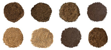 Set of Soil on White Background Stock Photos