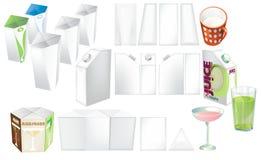 Set sok, koktajle i dojny puste miejsce, realistyczni kolorowi pudełka Zdjęcia Stock