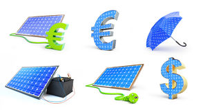 Set solar green power 3D illustration Royalty Free Stock Photos