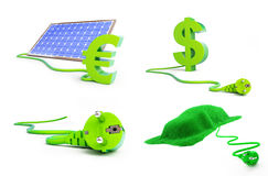 Set solar green power 3D illustration. On a white background Stock Photo