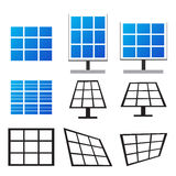 Set of solar panels in many style Stock Photography