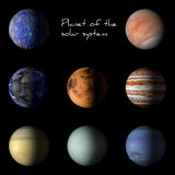 Set of solar system planets on black background 3d rendering. Stock Photo