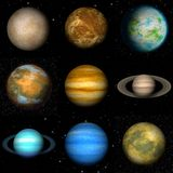 Set of Solar system planets generated textures Stock Photography