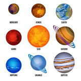 Set of solar system Planets with text cartoon vector illustration Royalty Free Stock Photo